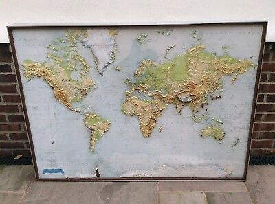 Large Philips Framed Relief Map of the World Steel Frame 60s