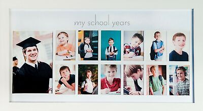 School Years Picture Day Collage Frame In Elegant White Natura...
