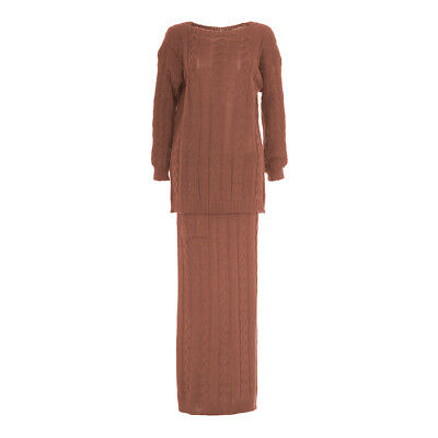 Co Ord Knitted Winter Cosy Womens Ladies Long Full Modest Two Piece Maxi Dress T