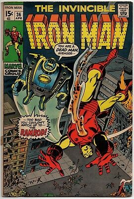The Invincible Iron Man 36 in good condition Marvel comics April 1971