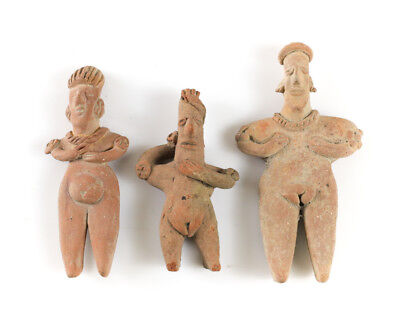 "3 Pre Columbian COLIMA Mexico Pottery Standing Female Figures, ""gingerbread'"
