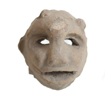 Pre Columbian Pottery Fragment, maskette, open eyes, mouth.
