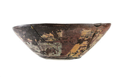 Pre-Columbian Polychrome Bowl, dark brown ground, painted geometric designs