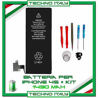 BATTERIA PER APPLE IPHONE 4S ORIGINALE 1430mAh CON KIT CACCIAVITI