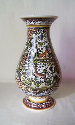Large Vintage Hand Painted Vase: Birds & Animals: Conimbriga Pottery Portugal
