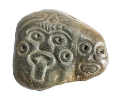 Pre Columbian Polished Jade Stone Maskette, Mayan pectoral ornament, Two Faces.