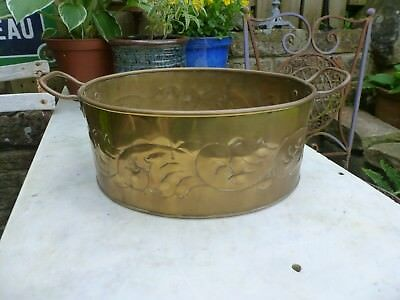 Vintage brass planter plant pot jam pan ornate garden kitchen handles