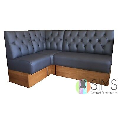 Modular Deep Buttoned Banquette Fitted Bench Booth Seating - Cafe, Kitchen, Bar