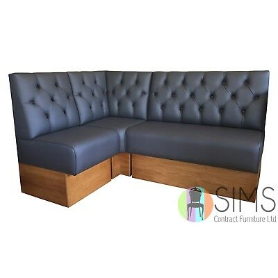Modular Deep Buttoned Banquette Fitted Bench Booth Seating - Pub, Barbers, Salon