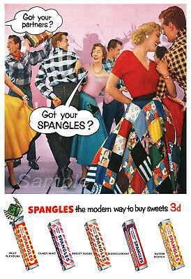 Ss02 Vintage Spangles Sweets Advertising A4 Poster Print