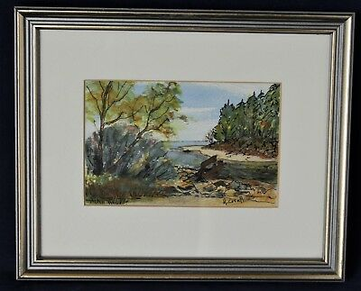 """Watercolour/Ink Drawing Signed By Canadian Hazel Coxall - """"Roberts Creek, BC"""""""