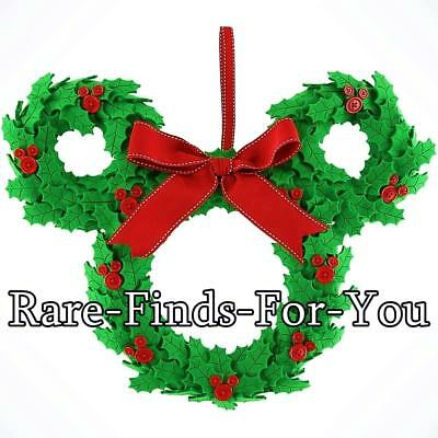 Disney Parks Mickey Mouse Ears Icon Christmas Holly Full-Size Wreath (NEW/TAGS)