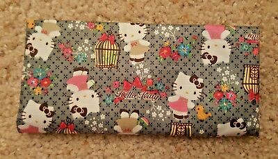NEW Grey Hello Kitty Bird Cages Flowers Bows Cash Money Checkbook Cover/Holder