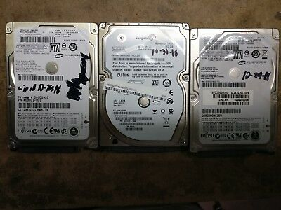 """Lot of 3x 320GB Laptop Hard Drives 2.5"""" SATA Tested/Wiped 7200rpm/5400rpm"""