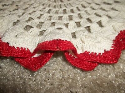 "Lot of 2 Vintage Hand Crocheted Round Doily Red/White Cotton 8"" Gorgeous"