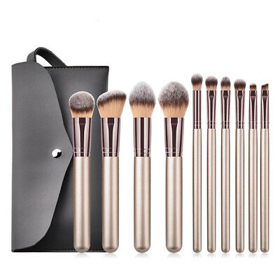 10pcs Pro Makeup Brushes Set Foundation Powder Blush Brush Kit Tools With Case