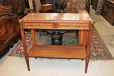 Antique Oak Louis XVI Marble Top Console Hall Table Small Sideboard w. 2 Drawers