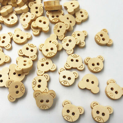 100PCS Wooden Buttons Natural Teddy Bear Charms 2Holes Sewing Buttons WB66