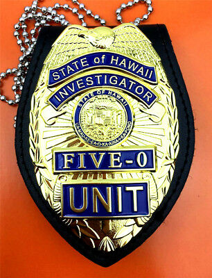 US Hawaii Five-0 Badge Hawaii 5 o Badge & Chain Belt Leather Badge Holder