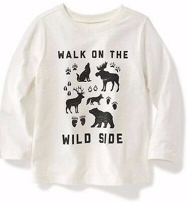 "NWT Old Navy "" Walk On The Wild Side "" Long Sleeve Tee for Boys T Shirt Size 4T"