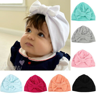 Baby Infant Girls Kids Bowknot Beanie Hat Hair Head Wrap Stretchy Turban Cap