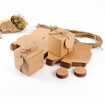 50pcs Eco Kraft Small Natural Gift Boxes Wedding FavourIncludes String//Tags