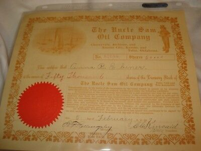 The Uncle Sam Oil Company > 1917 Arizona old stock certificate share