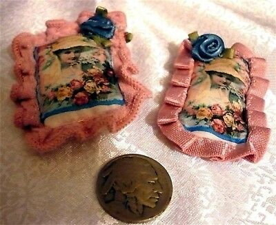 1:12 Rococo French Pillows Dollhouse Miniature 2 Silk Pillows 2 Side French Lady