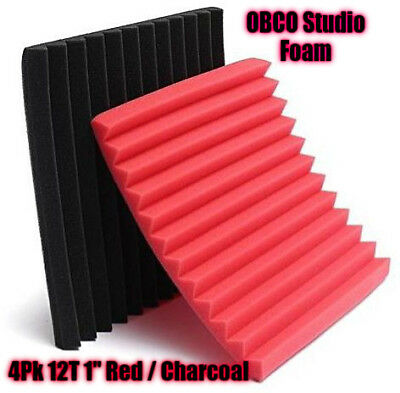"4 Pk Red/Char Acoustic Foam Panels Studio Soundproofing Foam Tiles 1""x12""x12"""