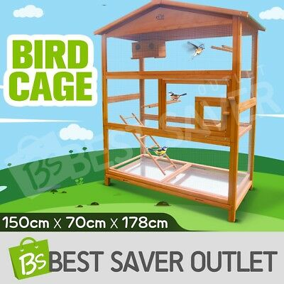 Wooden Large Bird Cage Pet Parrot Aviary Budgie Canary Cockatoo Perch House