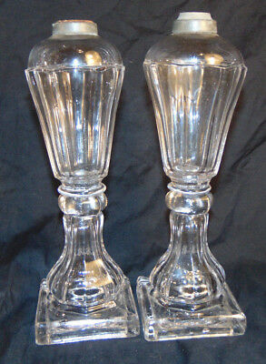"""Antique Pair of Clear Glass Whale Oil Lamps Unsigned Estate Fresh 10-3/8"""" Tall"""