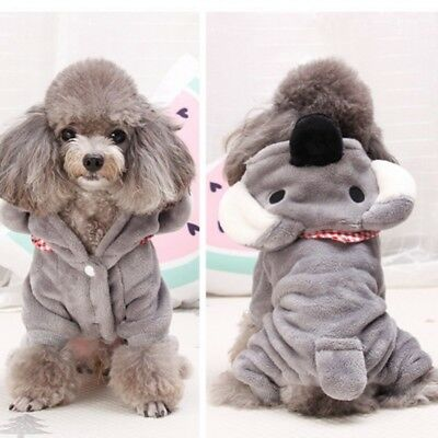 Small Pet Dog Clothes Puppy Cat Cute Flannel Coat Hooded Jacket Outwear XS-XXL