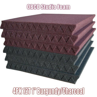 "4Pk Burgundy/Char Acoustic Foam Panels Studio Soundproofing Foam Tiles 1""x12""x12"
