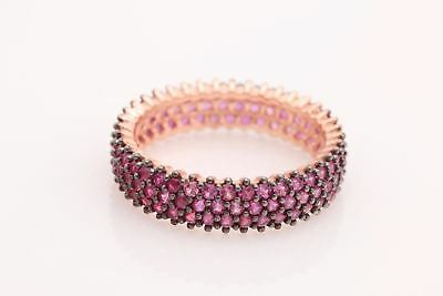 Turkish Handmade Jewelry Pink Ruby Zircon Rose 925 Sterling Silver Ring Size 7.5