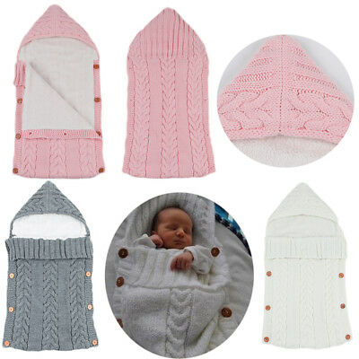 Newborn Baby Infant Blanket Knitted Crochet Warm Swaddle Wrap Sleeping Bags.