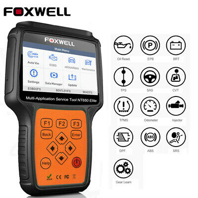 FOXWELL NT650 OBD2 Diagnostic Scan Tool ABS Airbag EPB DPF Oil Reset Injector US