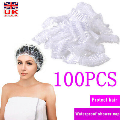 100pcs Disposable Shower Bathing Elastic Clear Hair Care Protector Hat Mask Cap