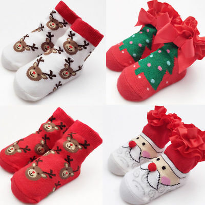 UK Infant Baby Boy Girl Cotton Socks Infant Toddler Kids Christmas Soft Stocking