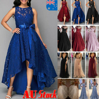 AU Women Party Formal Lace Dress Prom Evening Gown Bridesmaid Wedding Long Dress
