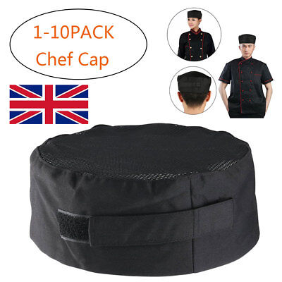 10X Pleated Chefs Catering Hats Cook Food Prep Kitchen Round Caps Top Mesh Hat