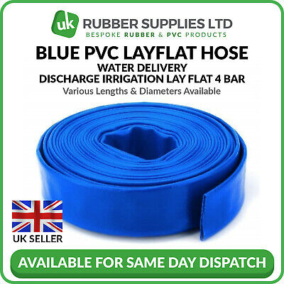 "Blue PVC Layflat Hose Water Discharge Pump Delivery Pipe 4 BAR 1"" 1¼"" 1½"" 2"" 3"""