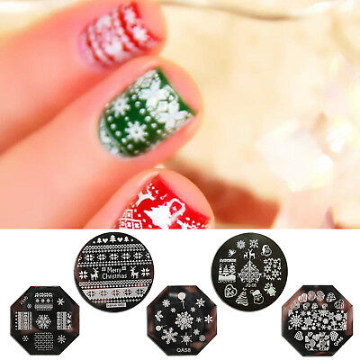 Christmas Nail Art Plate Stamp Decals Stamping Plate Stamper Design Image UK