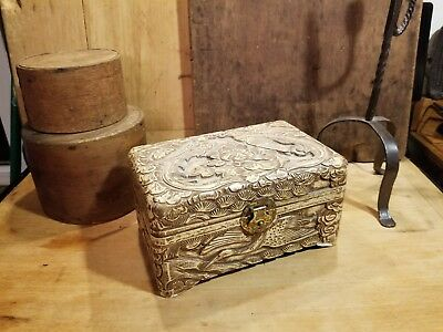 Vintage Chinese Oriental Carved Asian Wood Jewelry Trinket Box Mid-Late 1900's