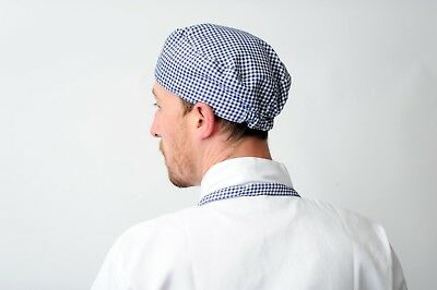 Blue Gingham Chef Skull Cap Chefs Catering Skull Hat Professional Kitchen Hat