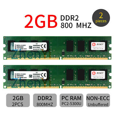 4GB 2x 2GB PC2-6400 DDR2 800MHz KVR800D2N6/2G intel Memoria DIMM per Kingston IT