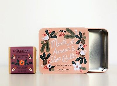 L'Occitane X Rifle Paper Co. Tin Box and Extra Gentle Lavender Soap, Limited Ed.