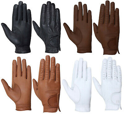 Hy Hy5 Childrens Unisex Leather Riding Gloves Black/White/Brown/LightBrown XS-XL