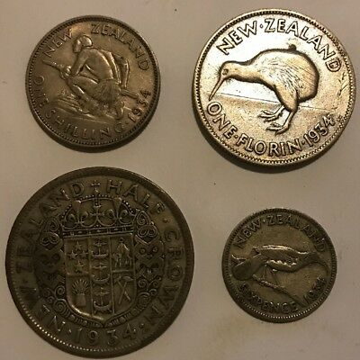 new zealand pre decimal coins ( 4 Silver Coins In 1934)