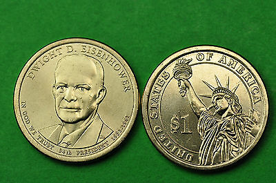 2015-P&D BU Mint State (Dwight D Eisenhower) US Presidential Dollars (2 Coins)