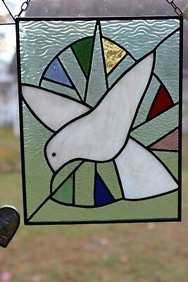 Dove with the Seven Points Stained Glass Panel